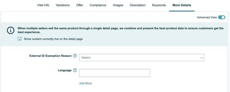 Screengrab from Amazon in Seller Central where you input more details to add to your listing.