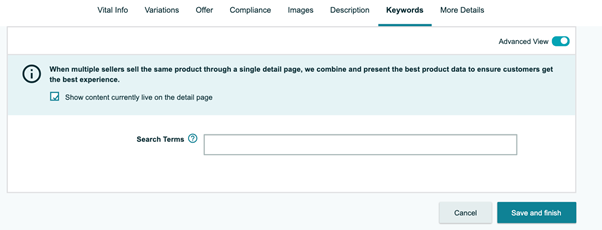 screengrab from Amazon in the backend of Seller Central where you can add your keyword terms